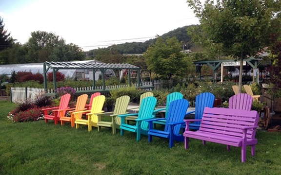 Maybe The Most Surprising Of Our Offerings Is Our Amish Made Outdoor  Furniture. We Are Becoming Known For Our Rainbow Of Chairs That Line The  Front Of Our ...